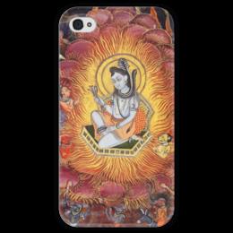 "Чехол для iPhone 4 глянцевый, с полной запечаткой ""Шива (Амардас Бхатти)"" - картина, раджпутская живопись"