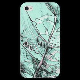 """Чехол для iPhone 4 глянцевый, с полной запечаткой """"Весенняя осень"""" - лист, рисунок, фактура"""