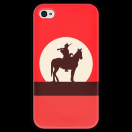 """Чехол для iPhone 4 глянцевый, с полной запечаткой """"Ковбой"""" - ковбой, вестерн, кино, дикий запад"""