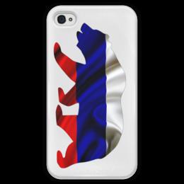 """Чехол для iPhone 4 глянцевый, с полной запечаткой """"Русский Медведь"""" - bear, медведь, русский, флаг, russian"""