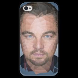 """Чехол для iPhone 4 глянцевый, с полной запечаткой """"Leonardo DiCaprio"""" - леонардо, лео, дикаприо, полигон"""