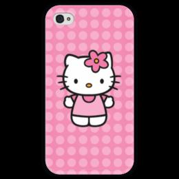 """Чехол для iPhone 4 глянцевый, с полной запечаткой """"Kitty в горошек"""" - мультик, hello kitty, мультфильм, для детей, привет китти"""