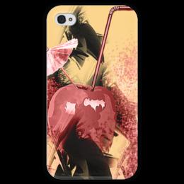 """Чехол для iPhone 4 глянцевый, с полной запечаткой """"Яблочный микс"""" - фрукты, напиток, абстракция, яблоко, натюрморт"""