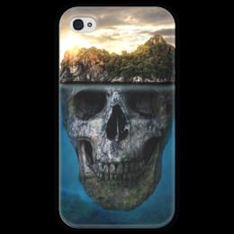 """Чехол для iPhone 4 глянцевый, с полной запечаткой """"MYSTERIOUS ISLAND"""" - череп, пираты, остров, приключения"""