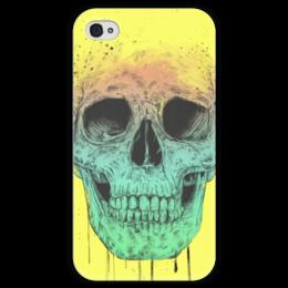 """Чехол для iPhone 4 глянцевый, с полной запечаткой """"Череп"""" - skull, череп, поп арт, pop art"""