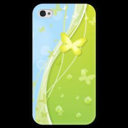 """Чехол для iPhone 4 глянцевый, с полной запечаткой """"Летний мотив"""" - бабочки, лето, небо, трава, мыльные пузыри"""