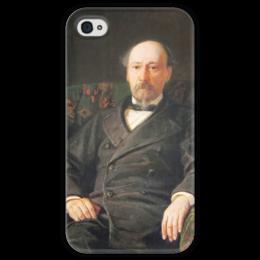 """Чехол для iPhone 4 глянцевый, с полной запечаткой """"Портрет Н. А. Некрасова"""" - картина, ге"""