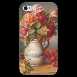 """Чехол для iPhone 4 глянцевый, с полной запечаткой """"Розы и вишни"""" - картина, зацка"""