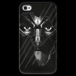 """Чехол для iPhone 4 глянцевый, с полной запечаткой """"Чёрная пантера"""" - черная пантера, мстители, марвел, marvel, black panther"""