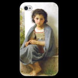 """Чехол для iPhone 4 глянцевый, с полной запечаткой """"Маленькая вязальщица (La tricoteuse)"""" - картина, бугро"""
