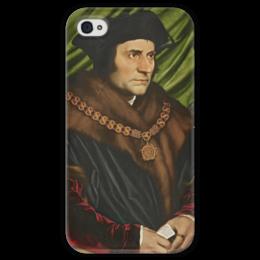 """Чехол для iPhone 4 глянцевый, с полной запечаткой """"Портрет Томаса Мора"""" - картина, гольбейн"""