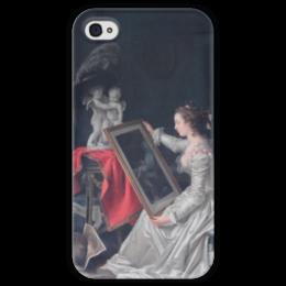 "Чехол для iPhone 4 глянцевый, с полной запечаткой ""L'Élève intéressante"" - картина, фрагонар"