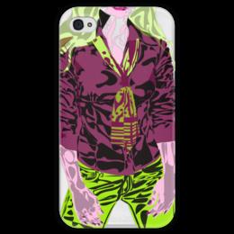 """Чехол для iPhone 4 глянцевый, с полной запечаткой """"Шейный платок"""" - девушка, галстук, фиолетовый, зеленый, желто-зеленый"""