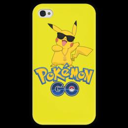 """Чехол для iPhone 4 глянцевый, с полной запечаткой """"Pokemon GO"""" - игра, покемон, пикачу, доллар, pikachu"""