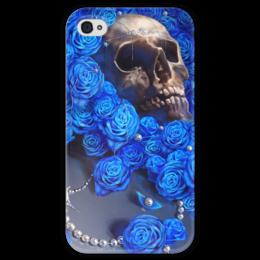 """Чехол для iPhone 4 глянцевый, с полной запечаткой """"Череп"""" - skull, череп, цветы, смерть, розы"""
