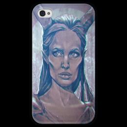 """Чехол для iPhone 4 глянцевый, с полной запечаткой """"Maleficent"""" - арт, рисунок, angelina jolie, малефисента"""