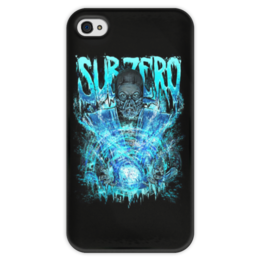 "Чехол для iPhone 4 глянцевый, с полной запечаткой ""Sub-Zero (Mortal Kombat)"" - ниндзя, mortal kombat, mk, sub-zero"