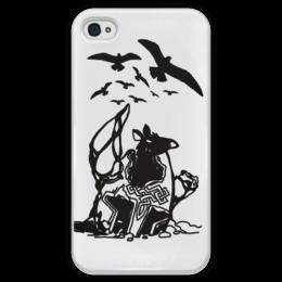 """Чехол для iPhone 4 глянцевый, с полной запечаткой """"крыса в шлеме"""" - вороны, крыса, шлем викинга"""