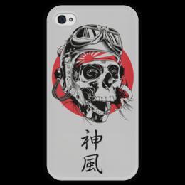 """Чехол для iPhone 4 глянцевый, с полной запечаткой """"Камикадзе"""" - япония, иероглифы, камикадзе, божественный ветер"""