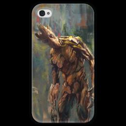 """Чехол для iPhone 4 глянцевый, с полной запечаткой """"Грут (Groot)"""" - комиксы, марвел, ракета, стражи галактики, guardians of the galaxy"""
