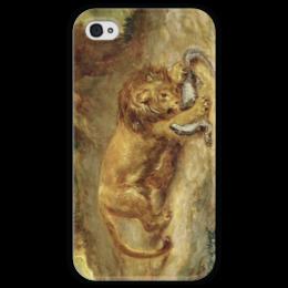 """Чехол для iPhone 4 глянцевый, с полной запечаткой """"Лев и кайман"""" - картина, делакруа"""