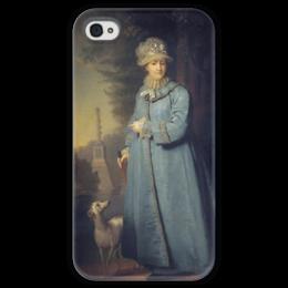"""Чехол для iPhone 4 глянцевый, с полной запечаткой """"Екатерина II на прогулке в Царскосельском парке"""" - картина, боровиковский"""