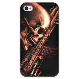 "Чехол для iPhone 4 глянцевый, с полной запечаткой ""ДО КОНЦА!!!"" - skull, череп, weapon, автомат, ак"