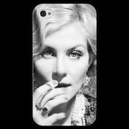 """Чехол для iPhone 4 глянцевый, с полной запечаткой """"Рената Литвинова"""" - film, actress, renata litvinova"""
