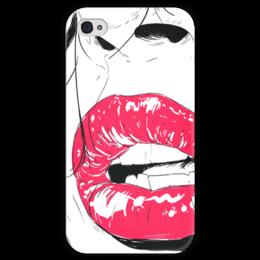 """Чехол для iPhone 4 глянцевый, с полной запечаткой """""""" Губы """""""" - арт, красиво, стиль, red, глаза, рисунок, губы, красота, девушке, зубы"""