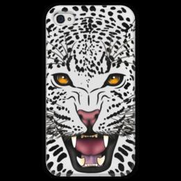 """Чехол для iPhone 4 глянцевый, с полной запечаткой """"Леопард"""" - животные, рисунок, коты, леопард, хищники"""
