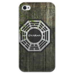"""Чехол для iPhone 4 глянцевый, с полной запечаткой """"Dharma, Wood"""" - сериалы, lost, dharma, остаться в живых, дерево, мистика, wood, дарма, пропавшие"""