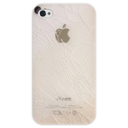 """Чехол для iPhone 4 глянцевый, с полной запечаткой """"Crack"""" - iphone, царапина"""