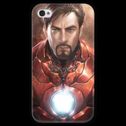 """Чехол для iPhone 4 глянцевый, с полной запечаткой """"Железный человек"""" - комиксы, марвел, iron man, tony stark, тони старк"""