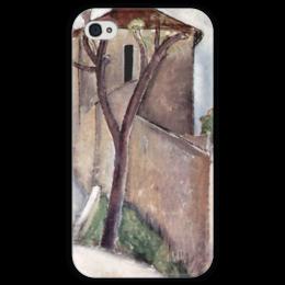 """Чехол для iPhone 4 глянцевый, с полной запечаткой """"Дерево и дом"""" - картина, модильяни"""