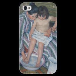 """Чехол для iPhone 4 глянцевый, с полной запечаткой """"Купание ребёнка"""" - картина, кассат"""