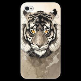 """Чехол для iPhone 4 глянцевый, с полной запечаткой """"Тигр """" - тигр, арт, tiger"""