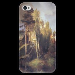 """Чехол для iPhone 4 глянцевый, с полной запечаткой """"Монастырские ворота"""" - картина, саврасов"""