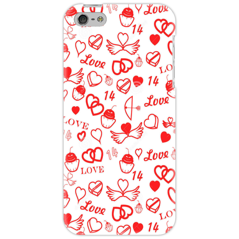 цена Чехол для iPhone 5 Printio St-valentine-s-day-seamless