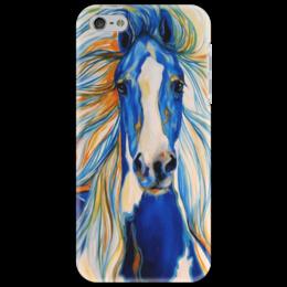 """Чехол для iPhone 5 """"2014 Blue Horse"""" - арт, рисунок, лошадь, 2014, beautiful, синяя, красивая"""