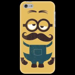 """Чехол для iPhone 5 """"Гадкий Я"""" - глаза, рисунок, очки, миньон, усики"""