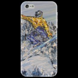"""Чехол для iPhone 5 """"Скорость"""" - красиво, горы, snowboard, покатушки, сноубордист, красная поляна, с горы"""