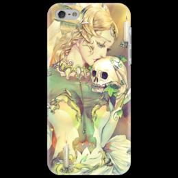 """Чехол для iPhone 5 """"Грусть"""" - skull, череп, девушка, iphone, оригинально, грусть, фэнтэзи, фэнтази"""