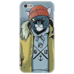 "Чехол для iPhone 5 ""Басота "" - кот, круто, rap, цао, cat, gangsta, hip hop, реп, hipster"