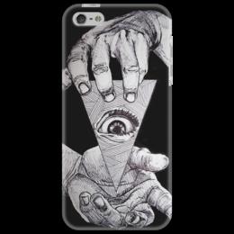 """Чехол для iPhone 5 """"other way round"""" - необычный, смелый, eye, глаз, eye of providence, всевидящее око"""