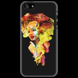 """Чехол для iPhone 5 """"Цвет New Year 2017"""" - лицо, красный, ярко, желтый, 2017"""