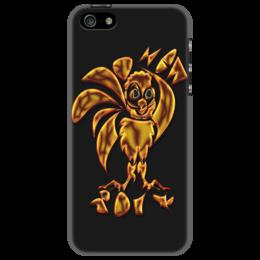 """Чехол для iPhone 5 """"New 2017 Gold Fire"""" - новый год, петух, 2017, символ 2017, огненный петух"""