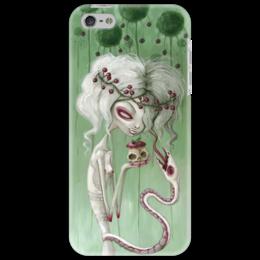 "Чехол для iPhone 5 ""Девушка с яблоком (зомби)"" - змея, девушка, хэллоуин, zombie, зомби"