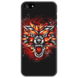 """Чехол для iPhone 5 """"Wolf & Fire"""" - огонь, волк, fire, дым, wolf"""