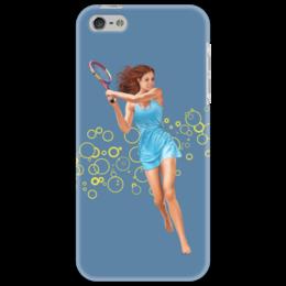 """Чехол для iPhone 5 """"Девушка с теннисной ракеткой"""" - девушка, спорт, рисунок, теннис, ракетка"""