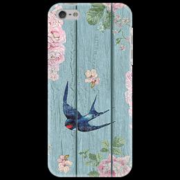 """Чехол для iPhone 5 """"Ласточка"""" - цветы, птица, винтаж"""